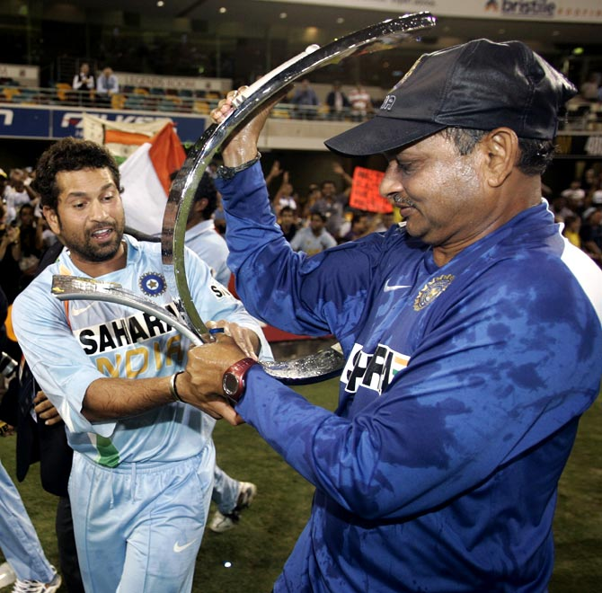 Sachin Tendulkar (left) with Lalchand Rajput