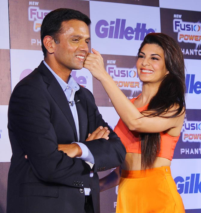 Rahul Dravid with actress Jacqueline Fernandez