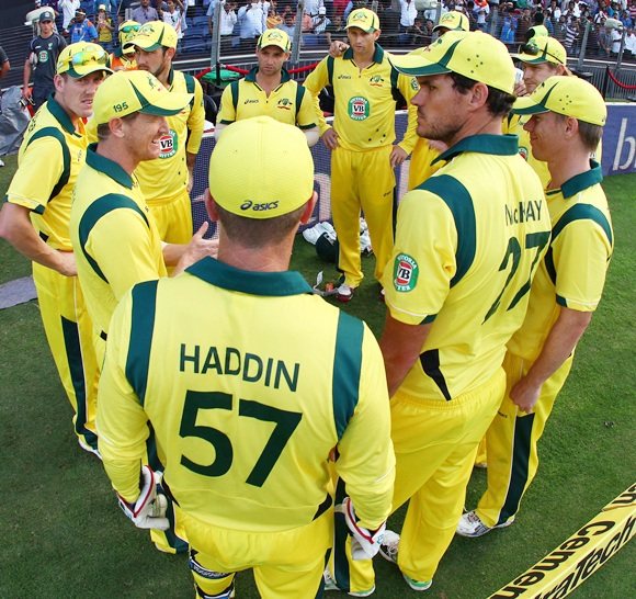 Australia captain George Bailey gives a pep talk to his players