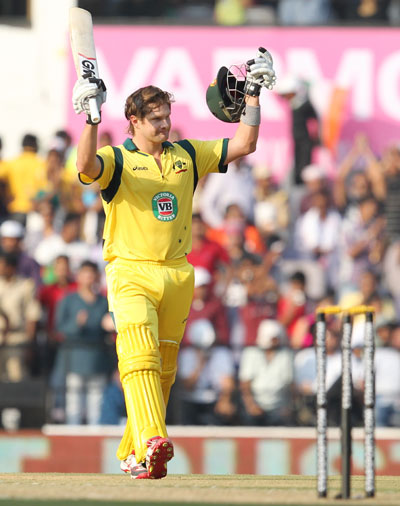 Shane Watson raises bat on scoring century