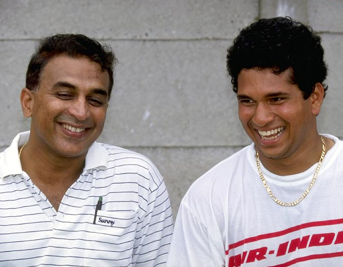 Sachin Tendulkar (right) with Sunil Gavaskar