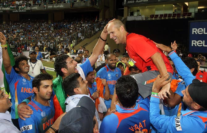 Gary Kirsten coach celebrates with his team after the 2011 ICC World Cup final between India and Sri Lanka at Wankhede stadium on April 2, 2011 in Mumbai