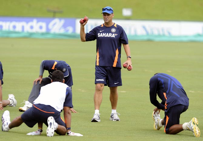 Gary Kirsten during a training session of the Indian team