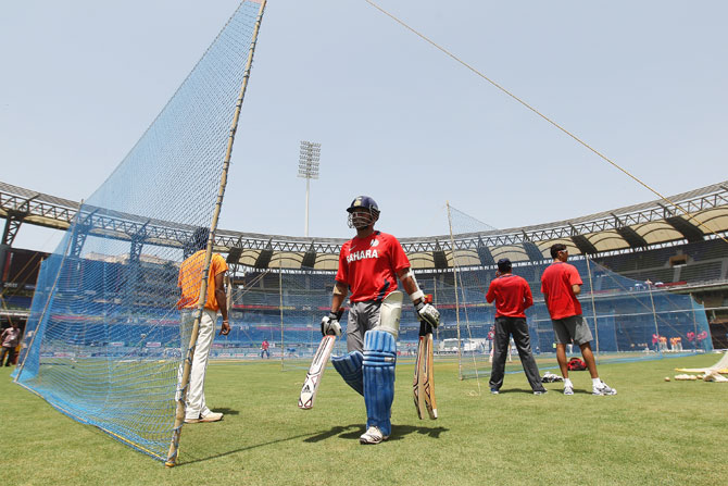Sachin Tendulkar during the India nets session at the Wankhede Stadium