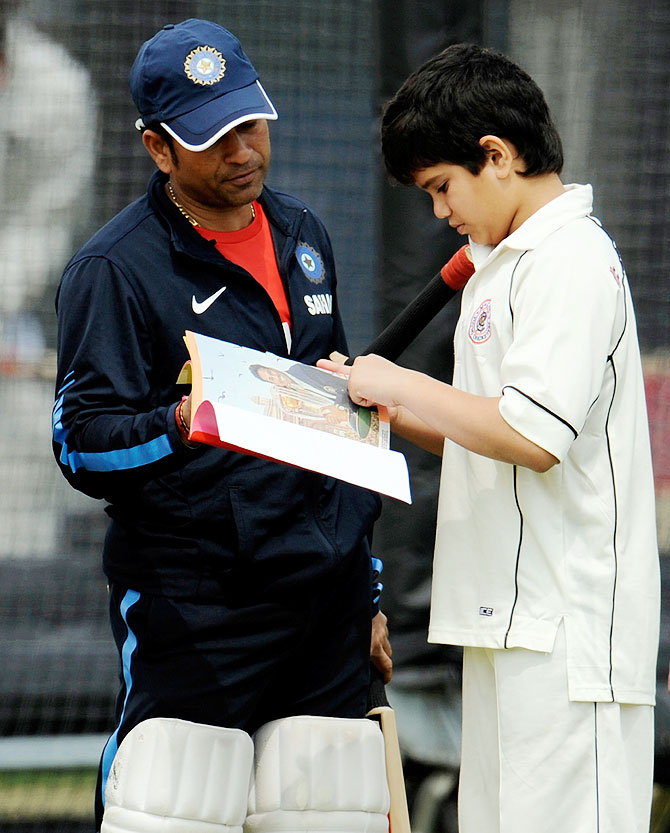 India's Sachin Tendulkar with his son Arjun