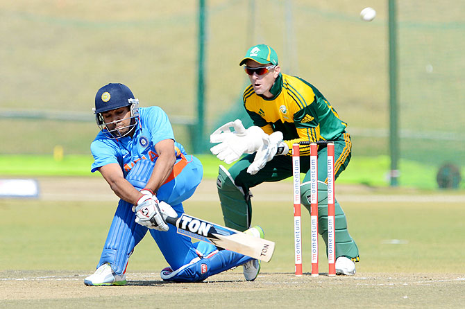 Rohit Sharma of India A sweeps during the 3rd ODI match between South Africa A and India A at Tuks Oval in Pretoria, South Africa on August 9, 2013