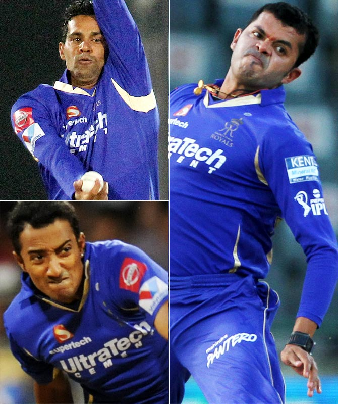 Rajasthan Royals' tainted trio Ajit Chandila, Ankeet Chavan (bottom) and Shantakumaran Sreesanth.