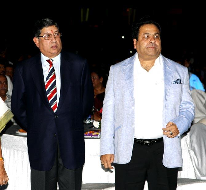 Former BCCI president N Srinivasan (left) with IPL chairman Rajeev Shukla