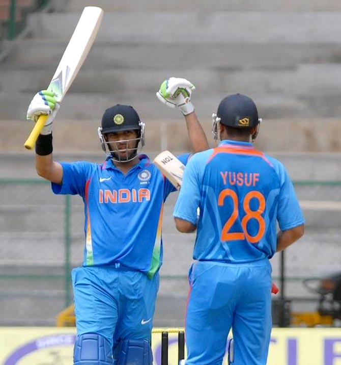 Yuvraj Singh (left) with Yusuf Pathan