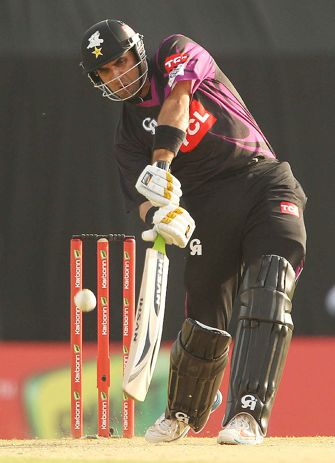 Faisalabad Wolves captain Misbah-Ul-Haq hits a four against Otago Volts on Tuesday