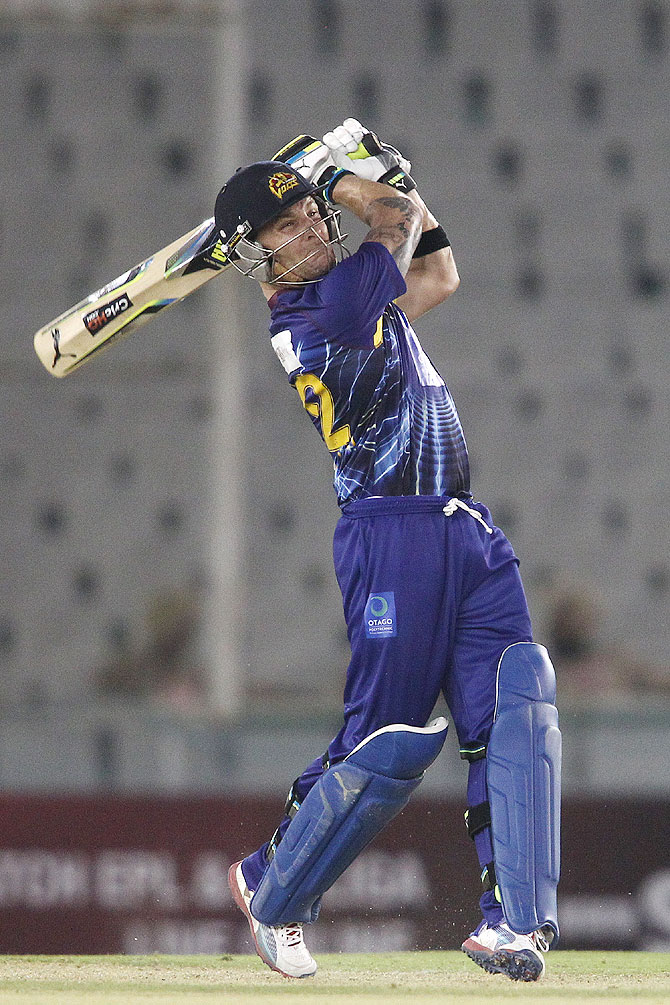 Otago Volts captain Brendon McCullum hits a six against Faisalabad Wolves in Mohali on Tuesday