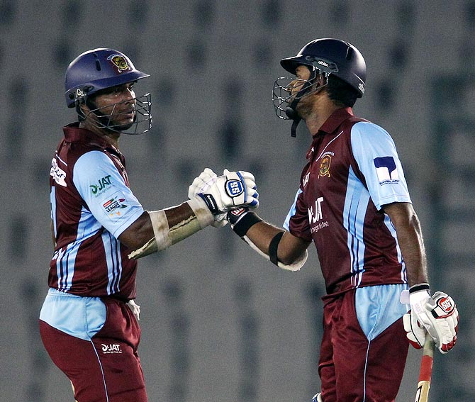 Kumar Sangakkara (left) and Lahiru Thirimanne