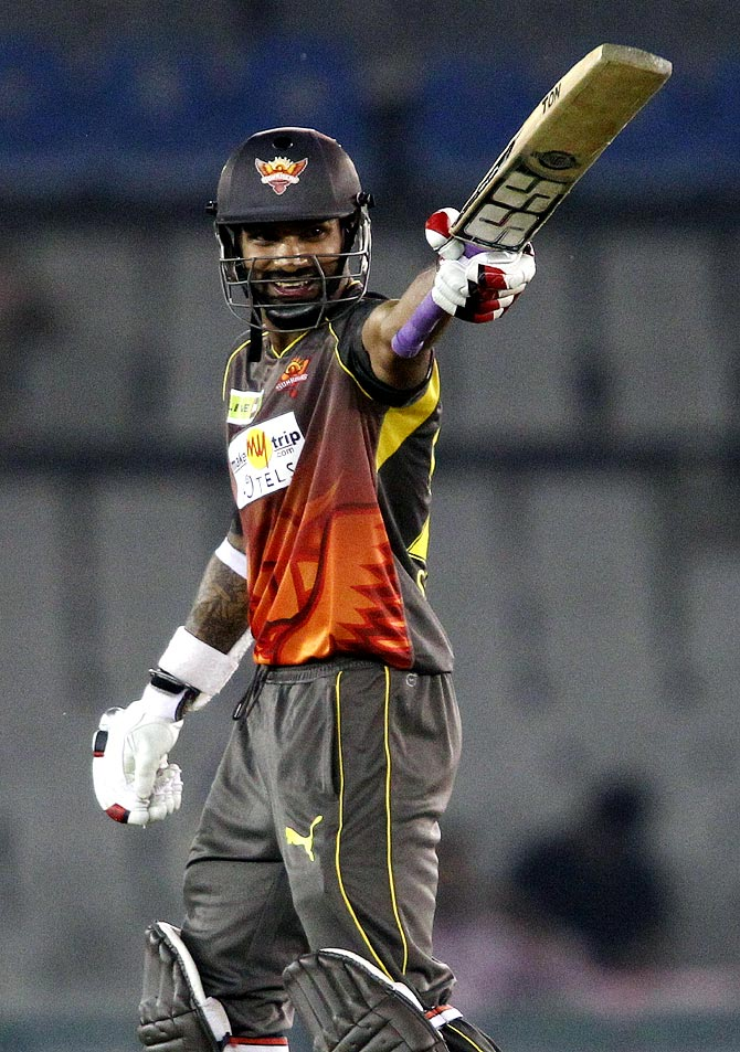 Sunrisers Hyderabad captain Shikhar Dhawan celebrates his fifty