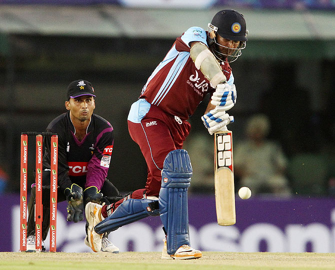 Kandurata Maroons' Kumar Sangakkara in action against Faisalabad Wolves on Friday
