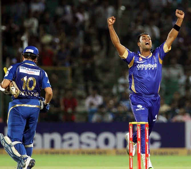 Stuart Binny celebrates the wicket of Sachin Tendulkar