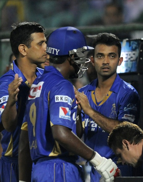 Rahul Dravid with Sanju Samson and Ajinkya Rahane