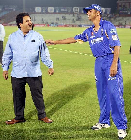 Rahul Dravid with Rajiv Shukla