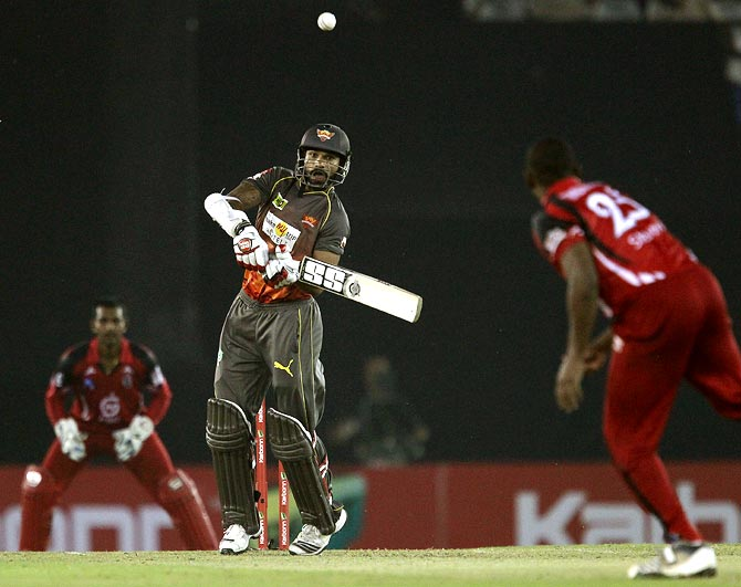 Shikhar Dhawan is caught and bowled by Navin Stewart