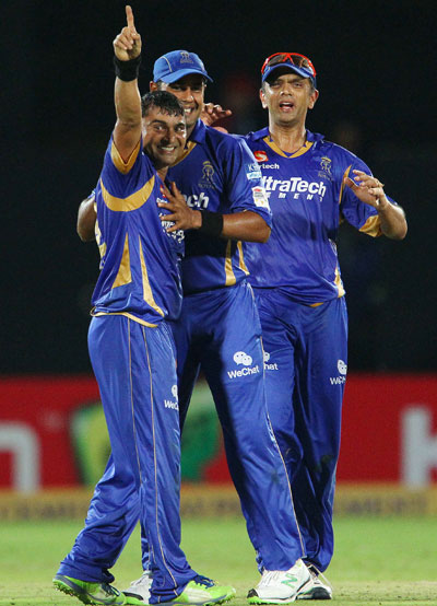 Pravin Tambe of Rajasthan Royals celebrates a wicket