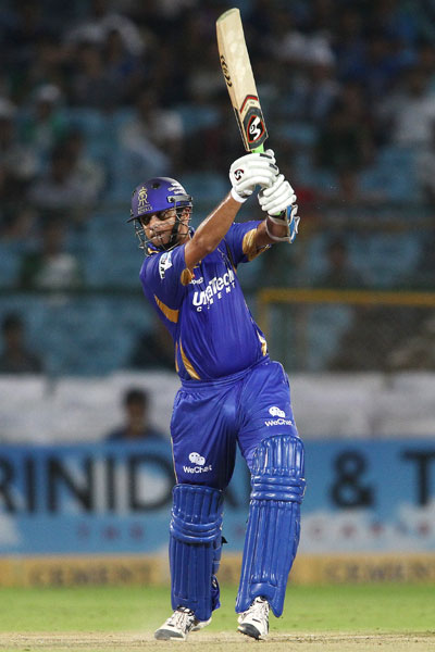 Rajasthan Royals captain Rahul Dravid drives a delivery through the covers