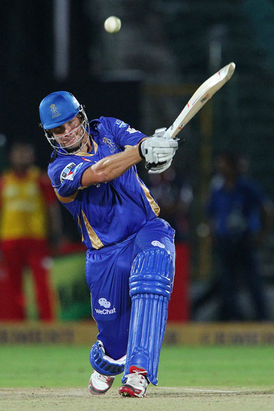 Shane Watson of Rajasthan Royals launches a six