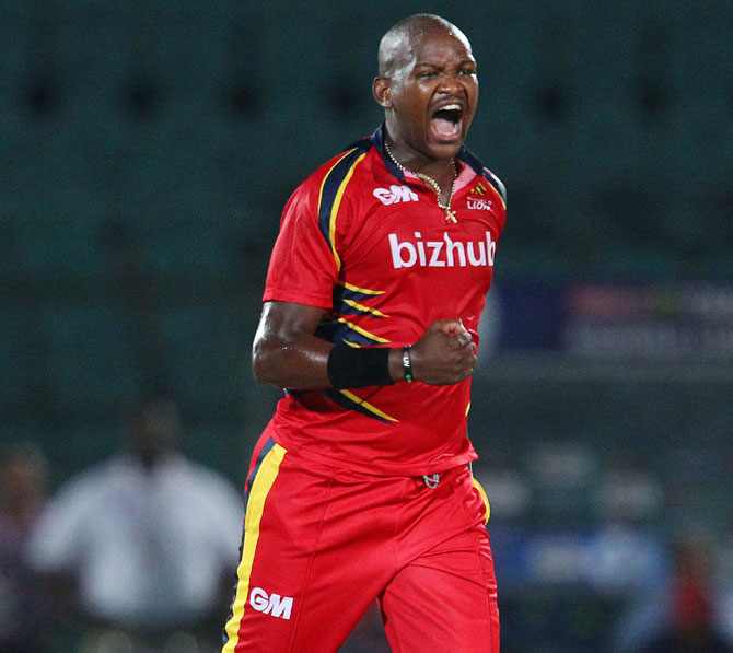 Longwabo Tsotsobe of the Highveld Lions celebrates a wicket