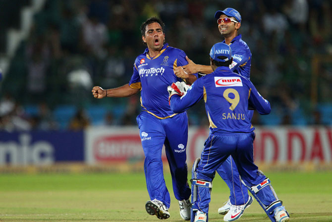 Vikramjeet Malik of Rajasthan Royals celebrates a wicket