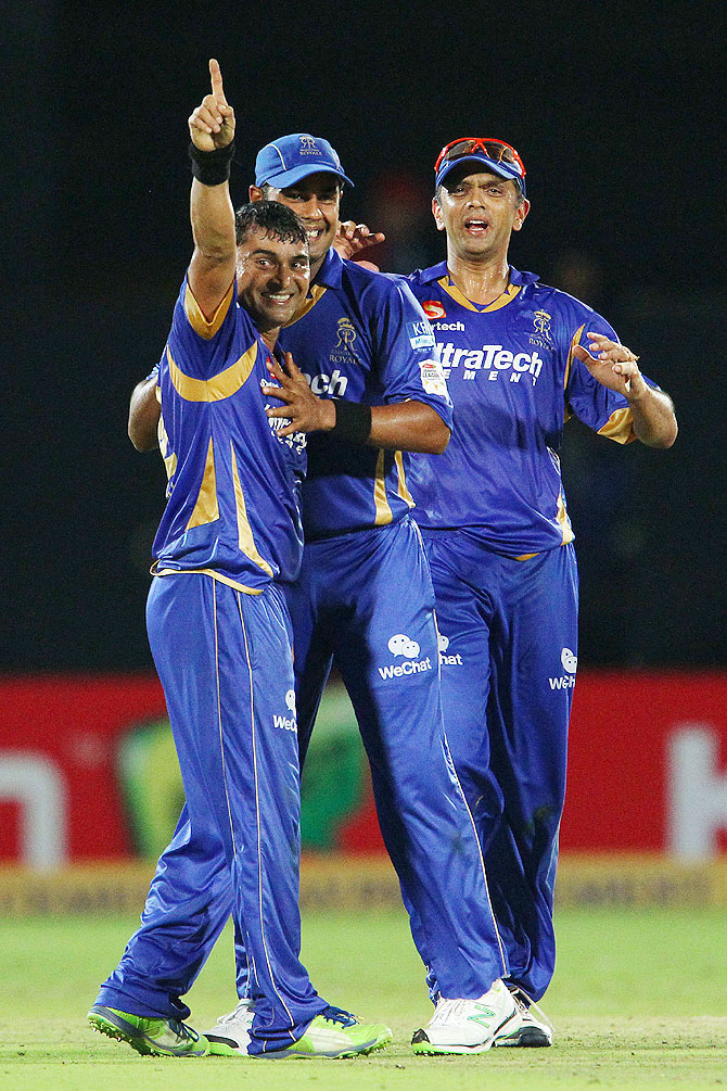 Pravin Tambe celebrates after capturing a wicket