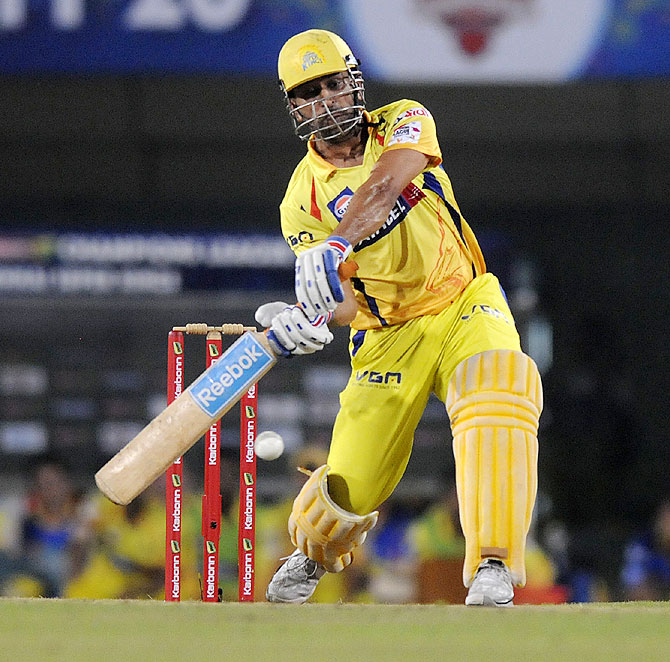 MS Dhoni hits a shot against Hyderabad on Thursday