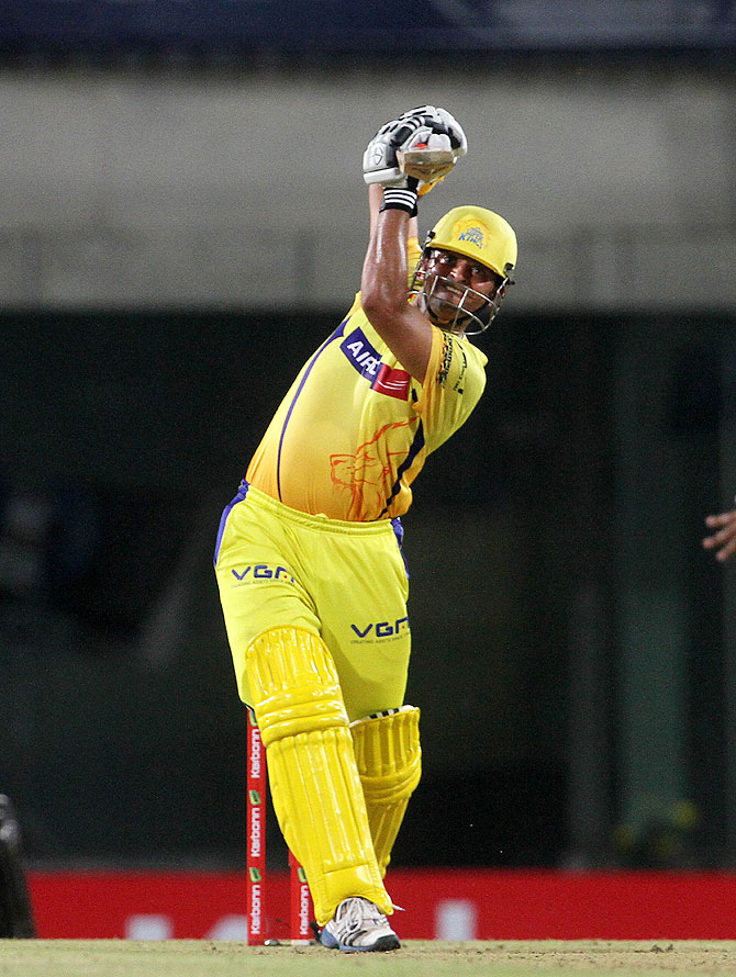 Suresh Raina bats against Hyderabad on Thursday