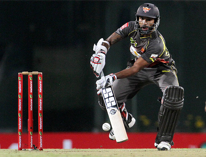 Shikhar Dhawan hits a shot against Chennai Super Kings on Thursday