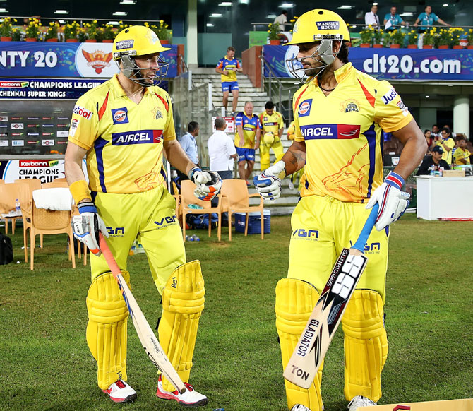 Opening batsmen of Chennai Super Kings Michael Hussey and Murali Vijay