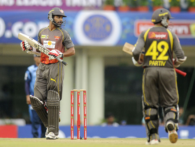 Shikhar Dhawan captain of Sunrisers Hyderabad looks on after playing a shot