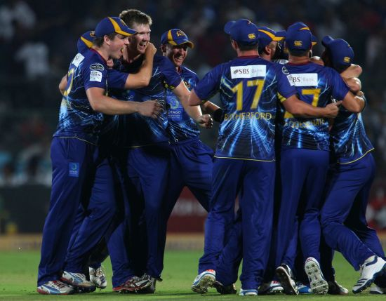 Otago Volts players celebrate after winning the match
