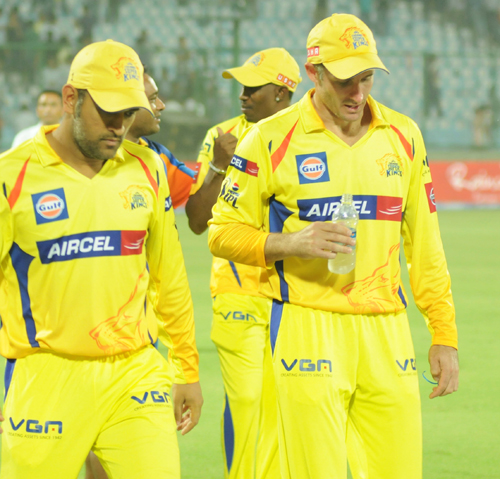 Michael Hussey (right) with MS Dhoni