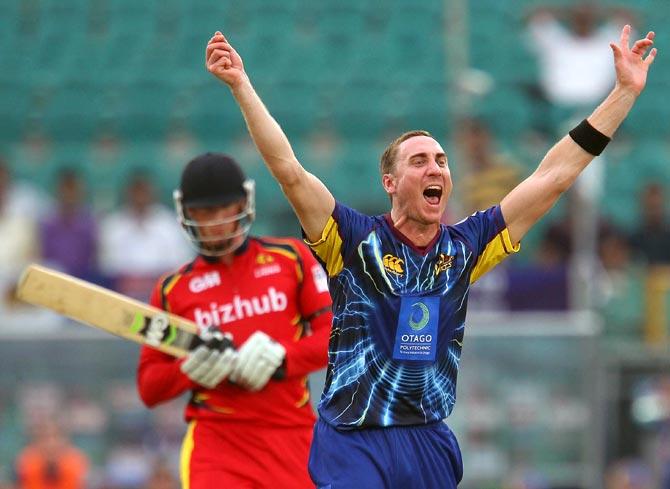 James McMillan appeals successfully for the wicket of Rassie van der Dussen