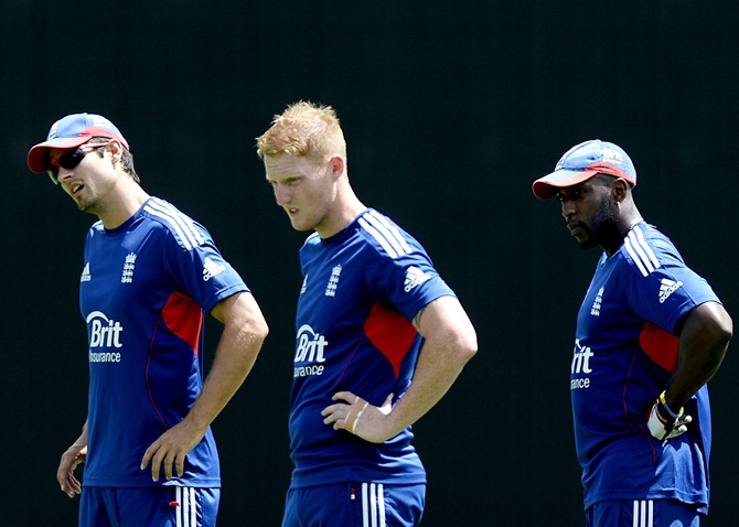 From left, Alistair Cook, Ben Stokes and Michael Carberry