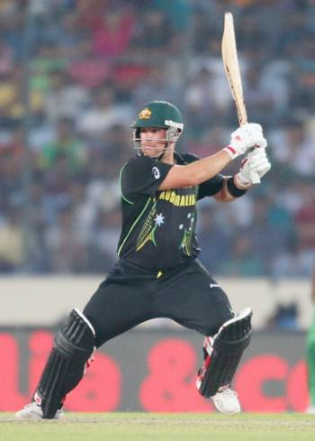 Australia's Aaron Finch bats during the ICC World Twenty20 match against Bangladesh