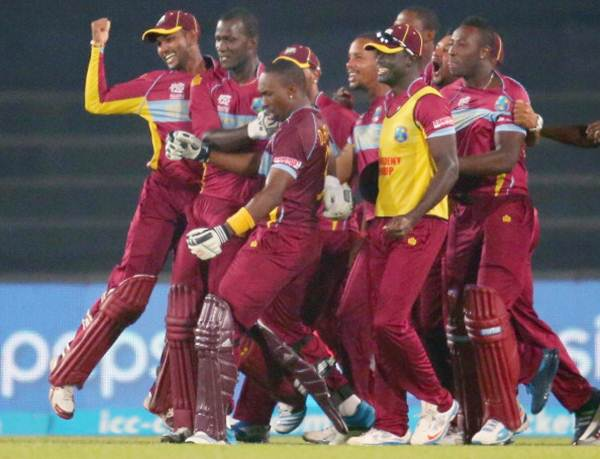 The West Indies players celebrate after their victory over Pakistan in the World T20
