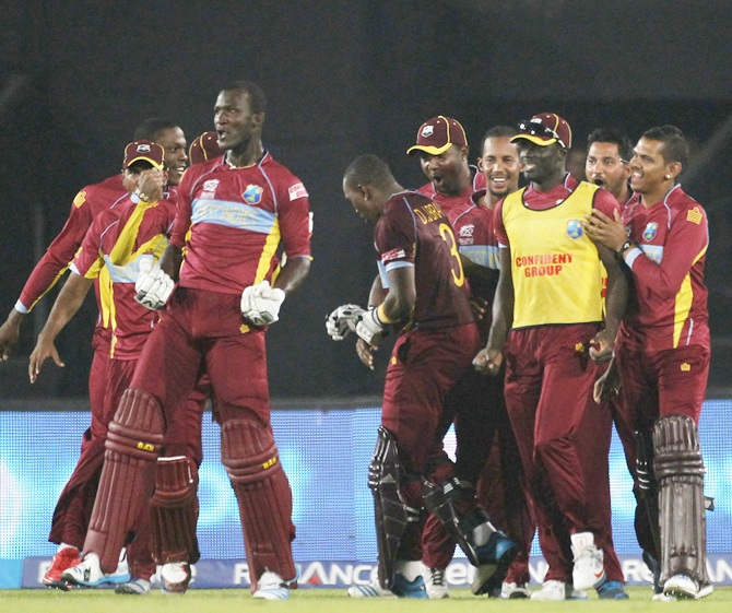 West Indies' captain Darren Sammy celebrates victory