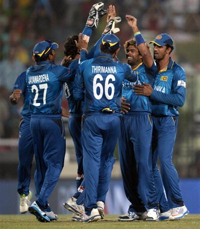 Lasith Malinga (2nd right) celebrates with team mates after dismissing West Indies opener Chris Gayle