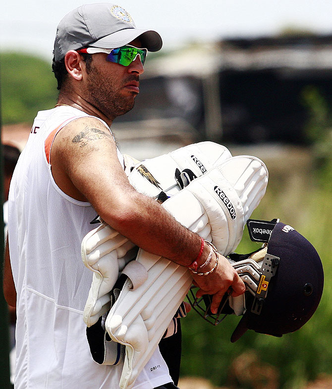 India's Yuvraj Singh leaves after a practice session
