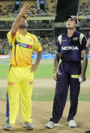 Chennai Super Kings captain Mahendra Singh Dhoni and Sourav Ganguly, captain of Kolkata Knight Riders, during the toss at a match.