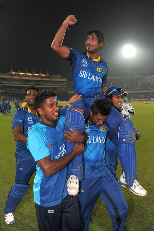 Kumar Sangakkara is chaired by teammates after Sri Lanka win the World T20.