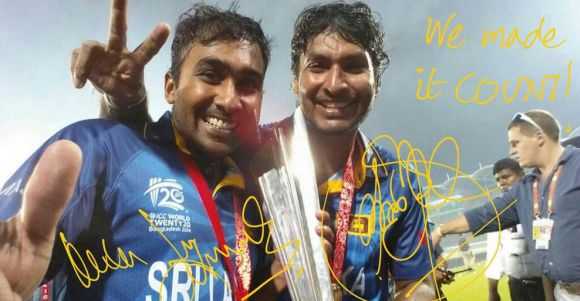 Mahela Jayawardene and Kumar Sangakkara after the triumph