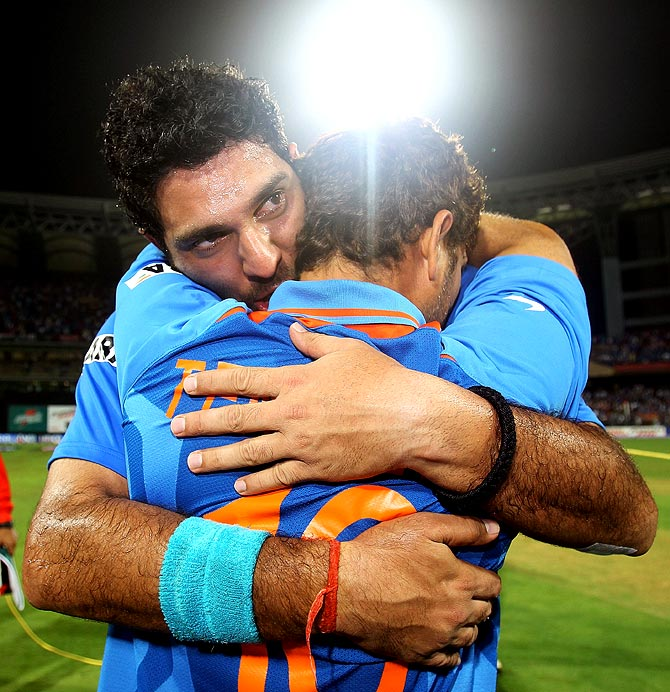 Yuvraj Singh hugs Sachin Tendulkar after winning the 2011 World Cup final against Sri Lanka in Mumbai.