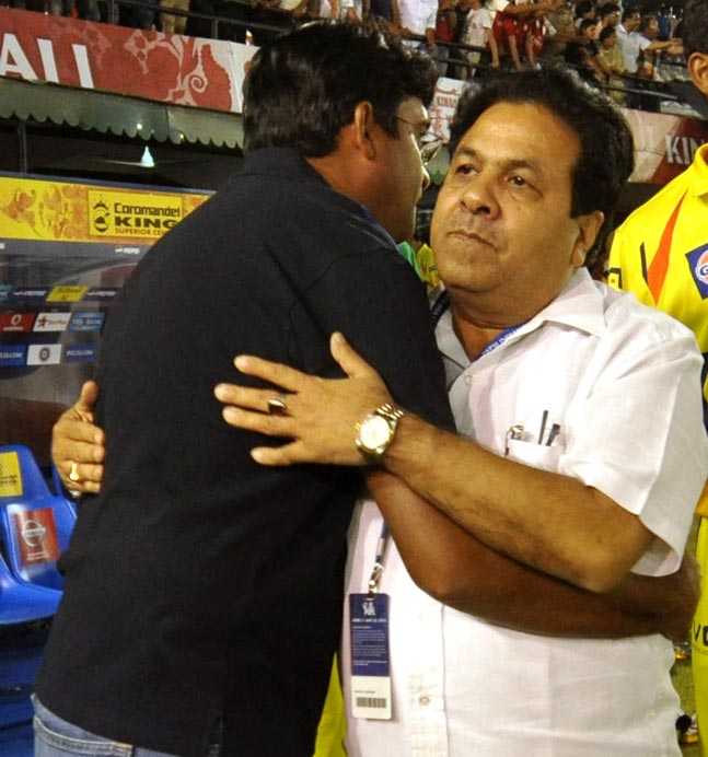 Gurunath Meiyappan with BCCI vice-president Rajeev Shukla during the IPL last year