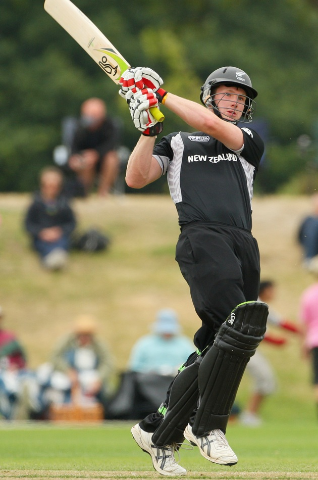 Jimmy Neesham of New Zealand bats