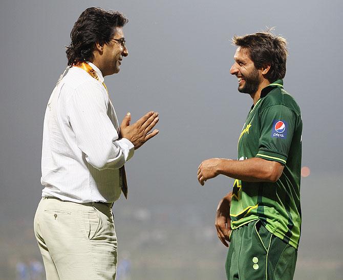 Wasim Akram with Shahid Afridi