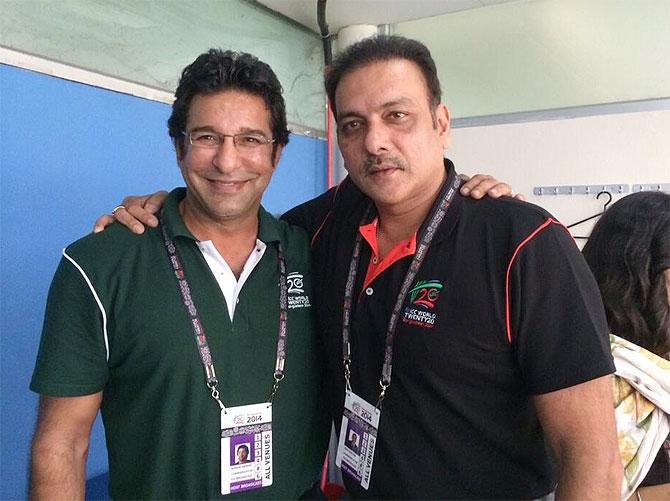 Wasim Akram with Ravi Shastri
